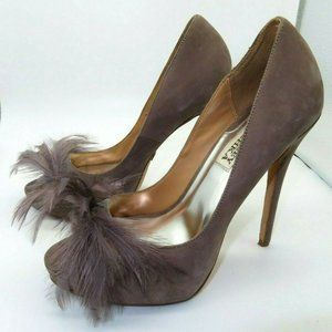 Badgley Mischka Gisella suede feather Shoes Sz 6.5
